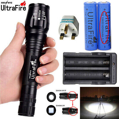 1000000LM T6 LED Rechargeable High Power Torch Flashlight Lamps Light+ Charger .
