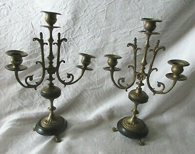 Pair Antique French marble Base 3 Arm Decorative Candlesticks Candelabras c1890s