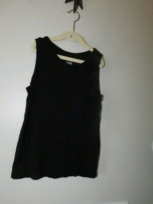 Justice Size 12 Girls Solid Black Knit Sleeveless Top