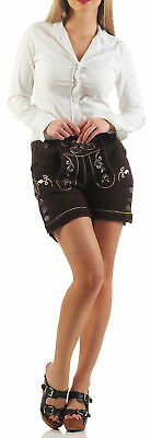 Ladies Leather Shorts Braun Traditional Costume without Suspenders KUDC4 / Ot