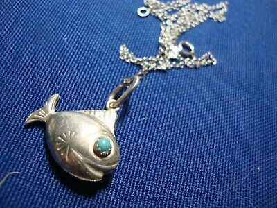 Grandmas Estate 925 Sterling Silver Turquoise Fish Necklace