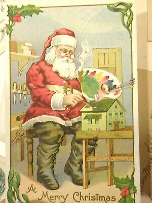 Lot Of 8 Christmas Postcards Incl Santa Claus Elf Poems Embossed