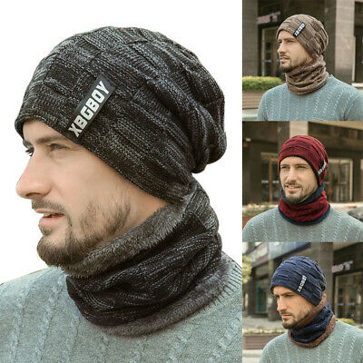 2Pcs Men's Winter Beanie Hat and Scarf Thicken Knitted Warm Ski Cap & Scarf Set.