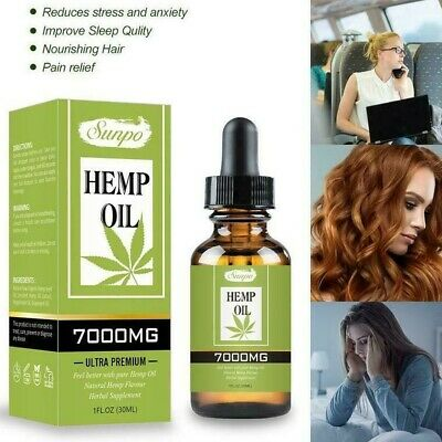 Natural Hemp Oil Extract Premium for Pain Relief, Stress, Anxiety, Sleep 7000mg