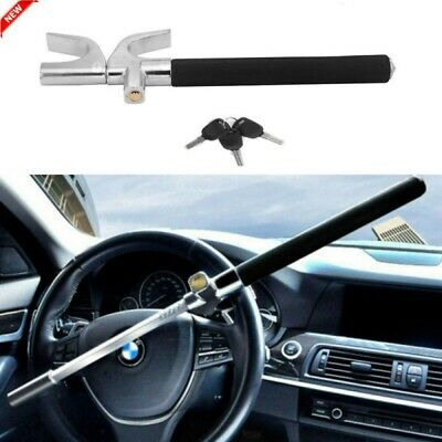 Black Heavy Duty Universal Car Steering Wheel Lock Anti Theft Clamp W/ 3 Keys