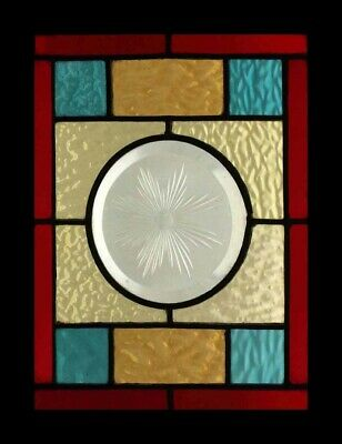 Victorian Brilliant Cut Starburst English Antique Stained Glass Window