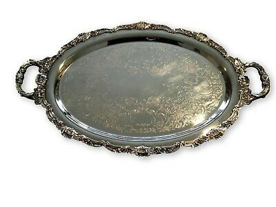 "Vtg Large Bristol Silverplate by Poole 24.5"" Footed Serving Tray/Platter Butler"