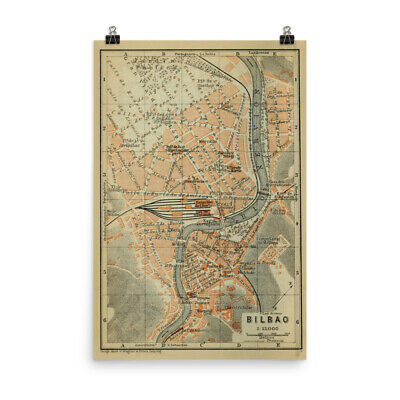 Bilbao Spain Map (1913) Old Basque City Atlas Poster