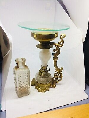 Antique Vapo Cresolene Asthma Oil Lamp 1800S & Knobbed 7/23/1894 Poison Bottle