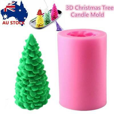 3D Christmas Tree Candle Soap Mold Silicone Craft Fondant Chocolate Cake Mould