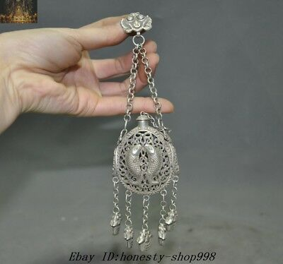 "7"" Collect Old Chinese Tibetan Silver fish Ancient Sachet Sachets Amulet pendant"