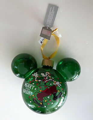 Disney Parks Mickey Mouse Icon Goofy Light Up Glass Ornament NEW