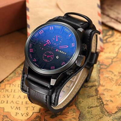 CURREN Mens Army Military Quartz Waterproof Leather Sports Wrist Watch Black Red
