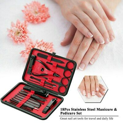 18pcs Nail Care Cutter Cuticle Clipper Pedicure Manicure Kit Gift Case Set SP