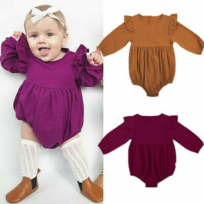 Infant Baby Girls Romper Twins Butterfly Sleeve Ruffles One Bodysuit Outfits