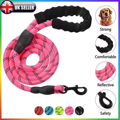 5FT Extra Strong Reflective Rope Dog Lead Leash with Padded Handle Soft