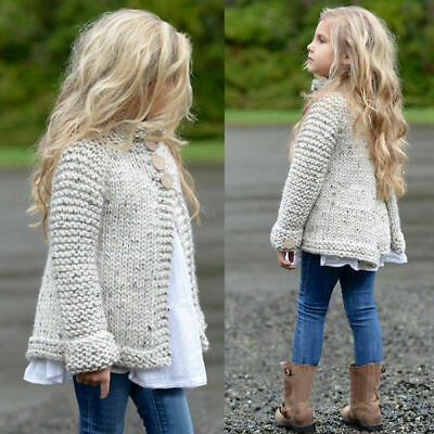 Kids Girls Baby Knitted Cardigan Jacket Coat Jumper Sweater Outwear Pullover Top