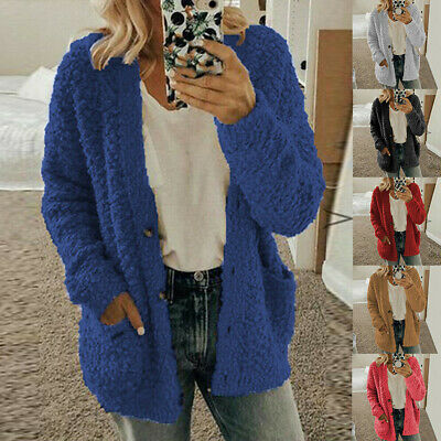 Womens Coat Casual Soft Woolen Fleece Jumper Fluffy Lady Girl Cardigan Plus Size