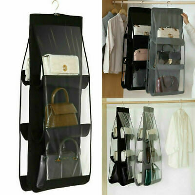 Hanging Handbag Organizer 10 Pocket Shelf Bag Storage Holder Wardrobe&Closets