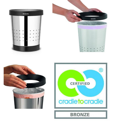 Brabantia Conical Waste Paper Bin with Holes, 5 L - Brilliant Steel