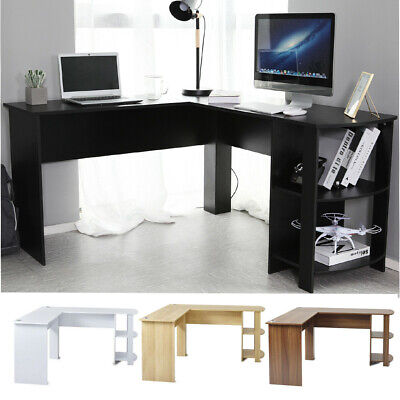 Corner Computer Desk Large Table Home Gaming Study Workstation with 2 Shelves