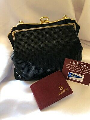 Vintage Genuine Glomesh Evening Black Bag With Snake Chain Strap In Box