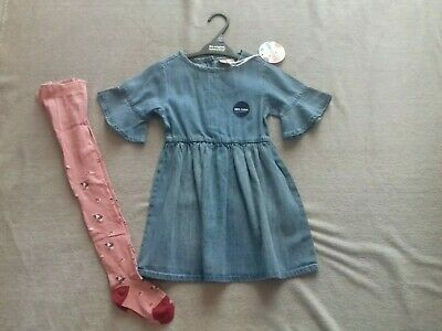 Girls Denim Dress & Tights 2/3 Years New With Tags