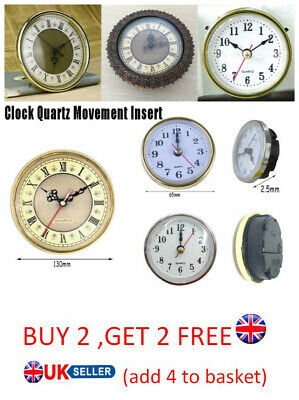 65mm/190mm Roman Numeral Quartz Clock Movement Insert White Face Gold Trim GA