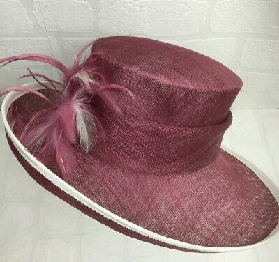 Jacques Vert Raspberry Pink Hat Mother of the Bride Races Wedding Feathers C026
