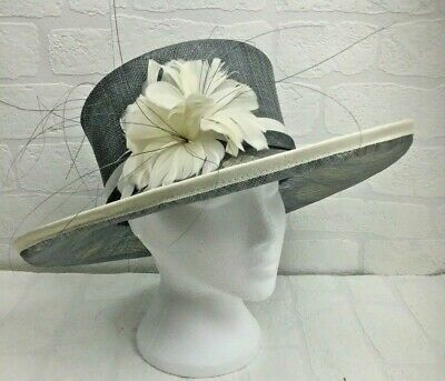 Jacques Vert Silver Ivory Hat Spotted Feather Flower Mother of the Bride C028