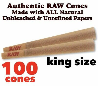RAW Classic King Size Authentic Pre-Rolled Cones with Filter - 100 Pack