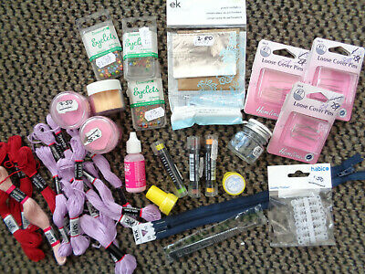 JOB LOT OF CRAFTING ITEMS eyelets,embossing powders,embroidery threads etc