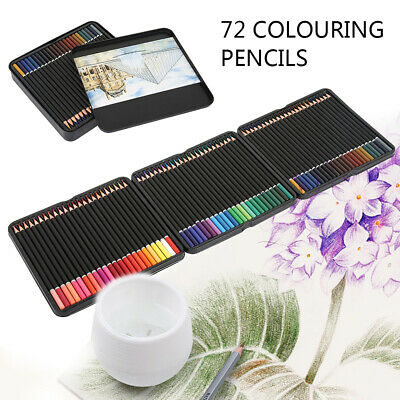 72 x Colouring Pencils Set Drawing Artist Kids With Pencil Tin Sketching School