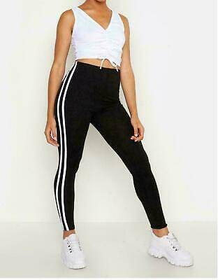 New Ladies Girls Side Stripe Active Wear Fitness Gym Leggings Sizes  8,10,12,14