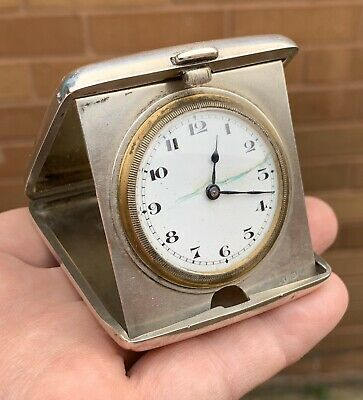 A Small Antique Art Deco Solid Silver Travel Clock, Spares Or Restoration, 1920.