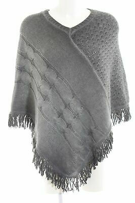 KEY LARGO GIRLS Poncho hellgrau Zopfmuster Casual-Look Damen Pullover Sweater