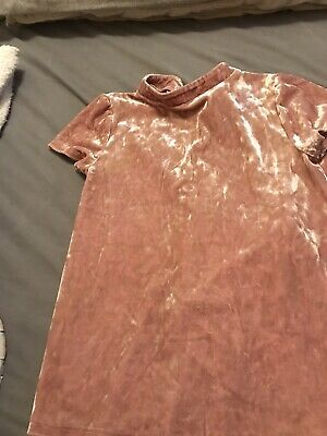 Crushed Velvet Pink Girls Top Age 10-11 Yrs