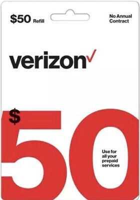 Brand New $50 Verizon Wireless Prepaid Refill Card - Email Delivery NO REFUNDS