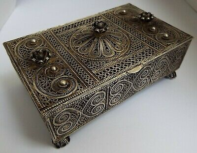 Stunning Large Rare Antique Russian Persian 1900 Solid Silver Filigree Table Box