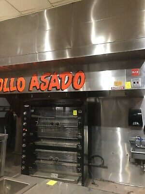 La Rotisserie Commercial Chicken Oven- 105,000 BTU's 7 Spits With Basket.