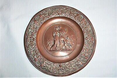 Grand Tour   Polished Copper  wall plaque    Classical Greek scene.