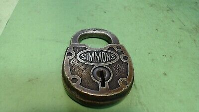 Vintage-Simmons - Brass Padlock- Lock / Shackle-- NO KEY