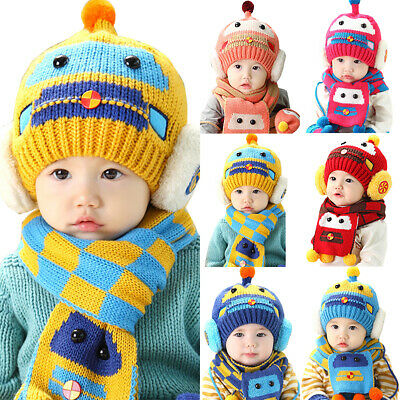Baby Kids Car Robot Design Winter Warm Hat Scarf and Cap Set Earflap Beanie Gift