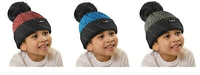 Boys Thermal Hat Kids Insulated Fleece lining Knitted Pompom Bobble Beanie Cap