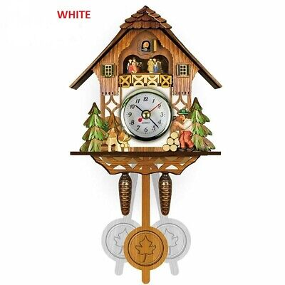 Antique Wooden Cuckoo Wall Clock Bird Time Bell Swing Alarm Decor Watch