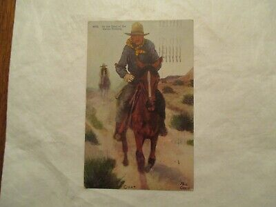 On the trail of the cattle Thieves Western West 1917 Postcard