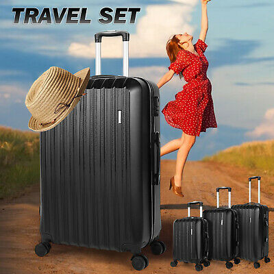 Set of 4 ABS Luggage Set Light Travel Case Hardshell Suitcase Business Weekend