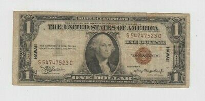 Hawaii emergency paper money  from WWII $1 1935-A  vg-fine stain