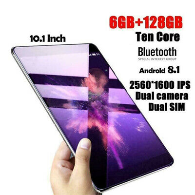 """WIFI Bluetooth HD Touch Screen 6+128GB Android 8.1Tablet 10.1"""" SIM Camera"""