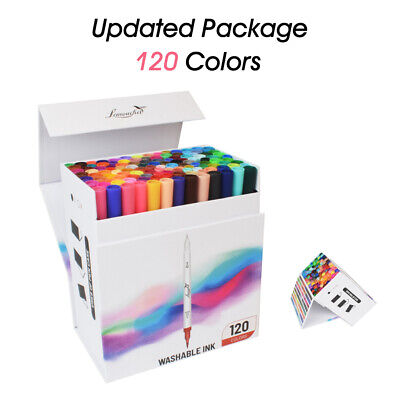 120 Colour Watercolour Brush Markers Pen Unique Art Drawing Painting Twin Tips